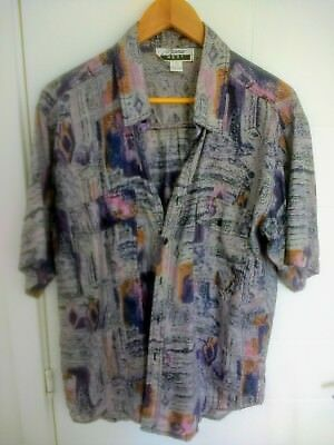 PURE SILK VINTAGE RETRO 1990s 80s SHIRT HAWAIIAN FLORAL ABSTRACT OVERSIZED M