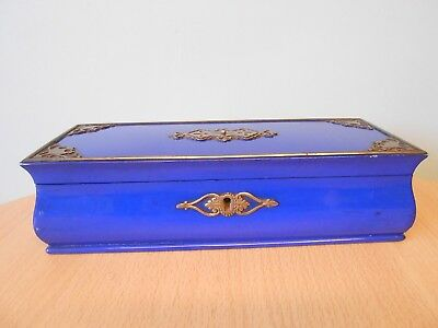 Antique 19Thc French Blue Lacquer Cut Steel Bombe Jewel Box