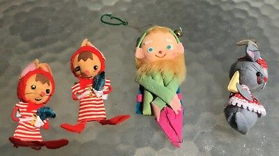 Vintage Lot 4 Christmas Elf & Mice Made in Japan Ornaments