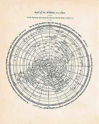 1901 Flat Earth Map by David Wardlaw Scott - Map Of The World As A Plane