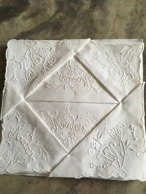 Set of 15 VERY RARE Madeira In Script Embroidered Linen Cocktail Napkins White