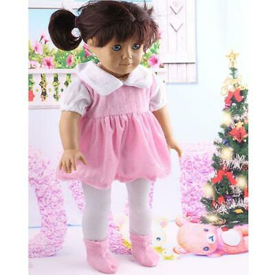 Pink Dress + White Leggings Set Outfit Clothes for 18'' American Girl Doll