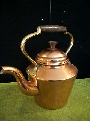 Vintage Copper Tea Pot Wood Handle Kettle ~VERY NICE~ brass and copper rivets!!