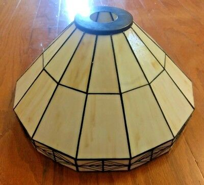 Vintage Large Tiffany Style Stained Glass Chandelier / Lamp Shade – White / Gold