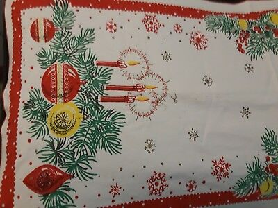 "vintage 1950s christmas candle table runner 34"" length 16""width euc"