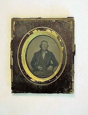 Antique 1/9 Plate Ambrotype Image In Glass Frame