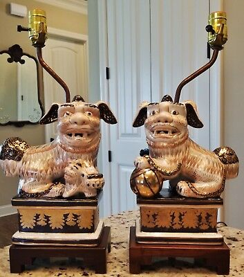 RARE MATCHED PAIR 1940s VINTAGE FREDERICK COOPER  PORCELAIN FOO DOG FAMILY LAMPS