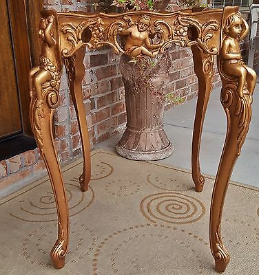 1920s VTG FRENCH ROCOCO NOUVEAU MARQUETRY BURLED TABLE GILT WOOD CHERUBS CUPID