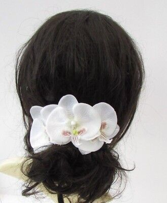 Ivory White Orchid Flower Hair Comb Bridesmaid Wedding Fascinator Floral 6041