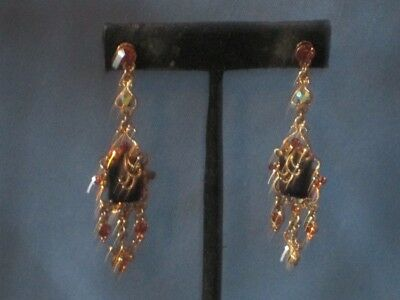 Vintage Gold-Tone Metal Brown & A/Borealis Rhinestone Pierced Dangle Earrings