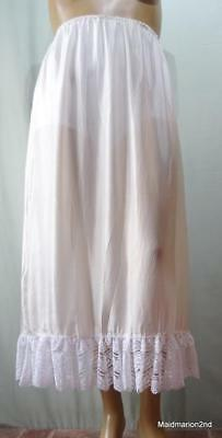 ^VINTAGE SOFT SHEER CREAM SILK LONG LENGTH HALF SLIP ~ PETTICOAT~ Lg