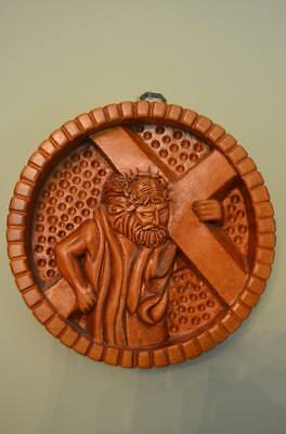 Beautiful Hand Carved Wood Stations of the Cross #2 Jesus Takes Up the Cross