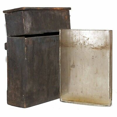 c1860 Glass Wet Plate Collodion Silver Nitrate Coating Full Plate Tank & WoodBox