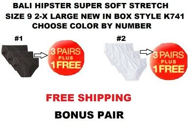 Bali Luxe 3-Pack Hipster Panty Size 9 Pick Your Color By Numbers New (K741)