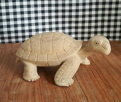 Cute Land Turtle, Box Turtle Statue, Wooden Carving Reptile Figurine, Detailed