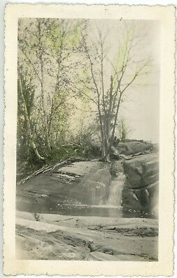 1930s Photo Canada Ontario Lake Rosseau View of Unknown Waterfall Rocks