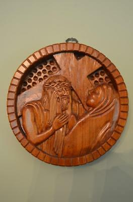 Beautiful Hand Carved Wood Stations of the Cross VERONICA WIPES JESUS FACE