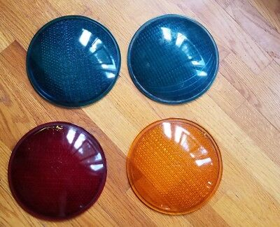 Four (4) Traffic Signal Light Glass Lenses
