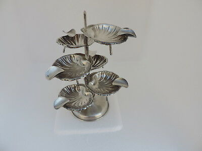 RARE SIX SOLID STERLING SILVER MEXICO SHELL ASHTRYS SET w STAND 122 gr 4.3 oZ