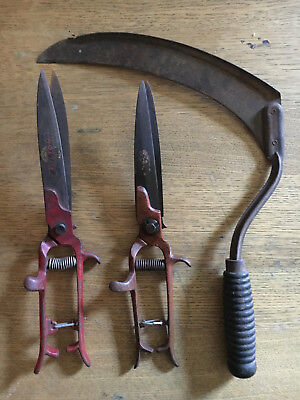 vtg 2 Pruning Shears Trimmers Fulton Tempered Steel Made USA HAND SCYTHE blade