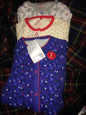 BNWT New Girls Next Floral Sleepsuits Babygrow Pjs Pack Bundle 0 - 3 Months