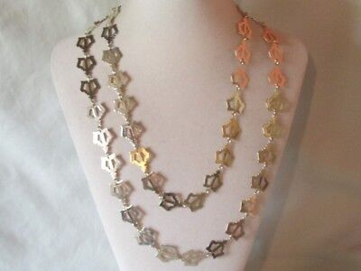 Vintage Gold-Tone Metal Chain Of Crowns Necklace