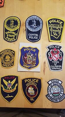Virginia Police VA patch lot VSP, Capitol, Hopewell, Arlington County, Culpeper
