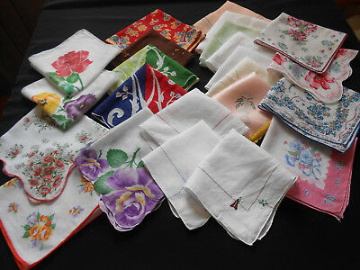Lot 23 Vintage Hankies Handkerchiefs Floral Monogram Crochet Hawaii