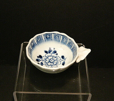 Derby porcelain small moulded Wine Taster blue and white Peony pattern c.1765
