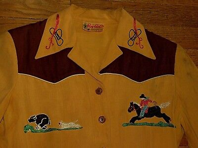 Cool Vtg 40's 50's Gabardine Cowboy Embroidered Rockabilly Rodeo Shirt  Roy Bob