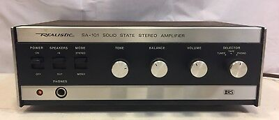 Realistic Stereo Amplifier SA 101 Bookshelf Amp Clean Working 31 1983 Walnut