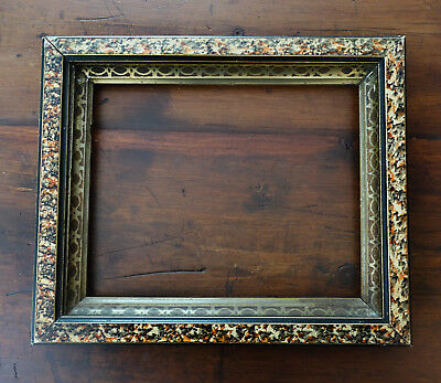 antique victorian eastlake picture frame wood sponge gold marble