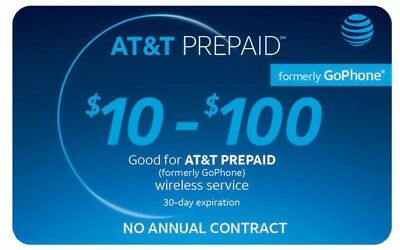 AT&T Go Phone Refill Card any amount $10-$100 (direct load to phone)