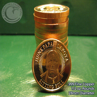 "14 ""Hunkpapa Lakota Sitting Bull"" 1/2 oz .999 Copper Round Very Rare and Limited"