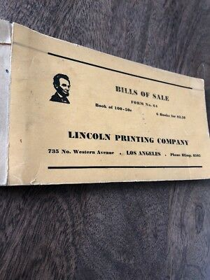 Bill Of Sale Form Book Abe Lincoln Printing Company Vtg Antique Reorder Form