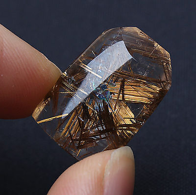 AAA clear quartz with golden brown rutile star ! 20 ct top rutilated quartz !