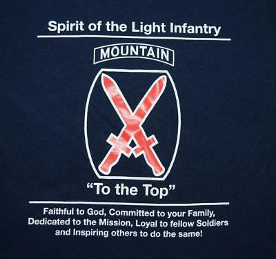 """US Army 10th Mountain Division """"Climb to Glory Fellowship"""" Unit Morale Shirt MED"""
