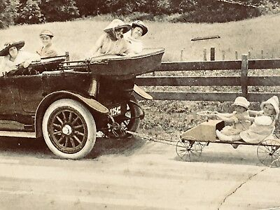 Circa 1910 Paige Automobile hand fan with very unusual photo - LOOK CLOSELY!