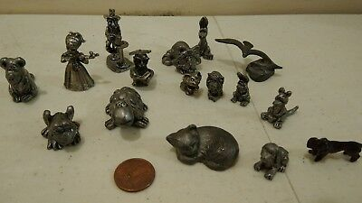 Vintage Pewter Miniature Animal Figurines Mix Lot of 16 Spoontiques Animals