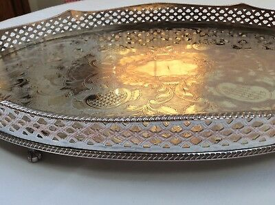 "ANTIQUE 18"" SILVER PLATED on COPPER FOOTED RISE and FALL GALLERY TRAY"