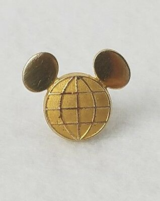 Disney Cast Employee Service Pin Gold Color Mickey Globe Ears VTG Jostens RARE