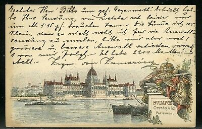HUNGARY 1898 illustrated POSTAL CARD BUBAPEST ORSZAGHAZ PARLEMENT