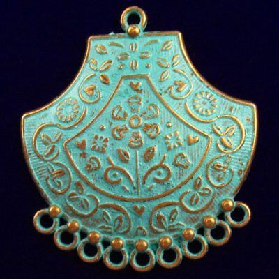 Y39974 Carved Brass Bronze Pendant Bead 50x45x3mm