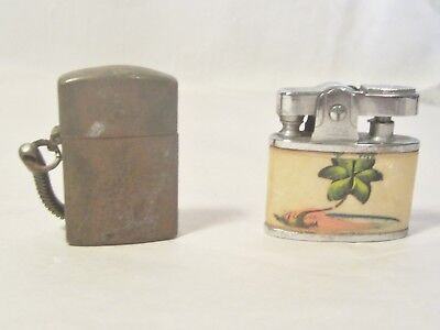Two Vintage Small Cigarette Lighters/ Brass Military ?? Mother Of Pearl  ??