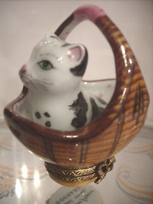 Limoges France Vintage Trinket Box Signed Kitten In A Basket ROCHARD