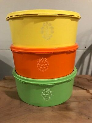 Lot 3 Vintage Tupperware Containers #1204 Servalier W/Lids Orange Green Yellow