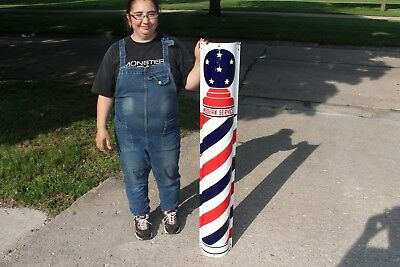 "Large Vintage 1930's Barber Shop Pole Gas Oil 48"" Curved Porcelain Metal Sign"
