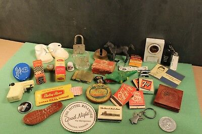 Vintage Junk Drawer Lot 36 Items Old Advertising Collectibles Match Books Toys
