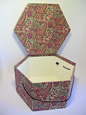 "Liberty of London Hexagonal Large BOX in Vintage ""Bournton"" Cotton England"