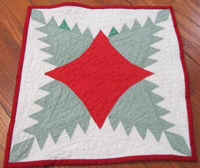 Red Green! c 1900-20s Feathered Star TABLE Doll Quilt 14 x 14 Vintage Farmhouse